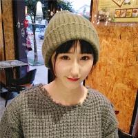 韩版秋冬毛线帽子女百搭英伦保暖针织帽简约时尚情侣套头冷帽