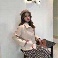 女装秋冬新款女装气质小个子学生加厚毛呢外套女韩版短款女呢子大衣潮保暖宽松 图色