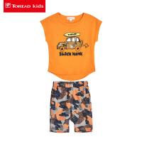 【2件2.5折:43元】探路者童装 夏新款户外男女童中性短袖T恤/短裤套装TDWK35006-D