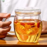 玻璃杯泡茶杯三件套耐热玻璃双层加厚内胆过滤茶水杯子家用喝水杯