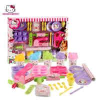 Hello Kitty正品儿童玩具3D无毒橡皮泥凯蒂猫美食坊模具彩泥套装