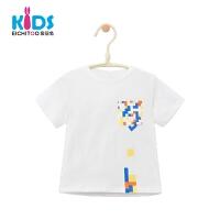 爱居兔童装男童夏装2018儿童短袖T恤白色时髦小童上衣
