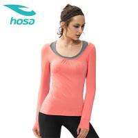hosa浩沙女士瑜伽服 圆领修身健身服性感露背拼接瑜伽服上装