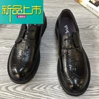 新品上市男鞋雕花纹牛皮大头皮鞋男系带复古真皮男士商务休闲鞋
