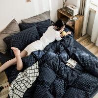 ins水洗棉1.8米床上被套床单四件套全棉纯棉双人三件套公主风简约