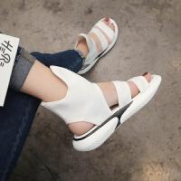 2018夏季新款平底时尚休闲凉靴女鞋港味厚底中跟学生凉鞋高帮凉鞋 白色 35