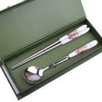 陶瓷柄不锈钢筷子勺子礼品餐具两件套装创意节日婚庆礼盒学生旅游餐具 花色随机