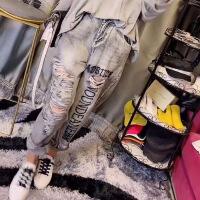 潮牌热卖秋装2019新款套装洋气牛仔破洞裤韩版很仙的网红时尚刺绣字母长裤 灰色牛仔裤