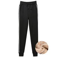 加绒运动裤女冬季2018新款外穿加厚暖暖卫裤宽松羊羔绒休闲棉裤子
