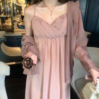 新款连衣裙 2019春夏装新款韩版自带胸垫内搭外穿中长裙连衣裙女 橘粉色 均码