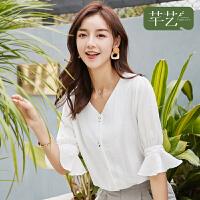 很仙的衬衣韩版宽松时尚荷叶袖设计感小众V领上衣仙女范白色衬衫
