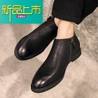 新品上市冬季真皮复古短靴男韩版百搭靴英伦高帮皮鞋男士加绒马丁靴