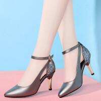 高跟单鞋女2019春季新款韩版尖头浅口女鞋时尚性感细跟鞋子女工作鞋