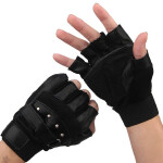 男半指手套透气网面柳钉羊皮户外骑行运动防滑露指战术手套