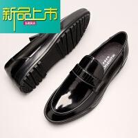 新品上市春季英伦鞋男鞋真皮休闲皮鞋漆皮商务休闲鞋男士一脚蹬懒人鞋