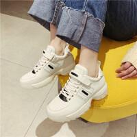 运动休闲鞋女2019春季新款时尚牛皮松糕厚底运动鞋学生百搭运动鞋