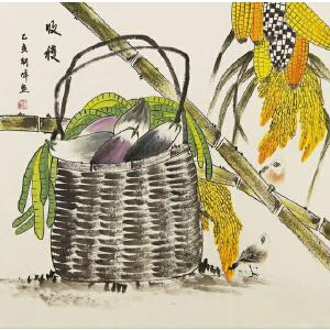 刘朝峰 民俗画代表画家 68X69cm 作品《收获》