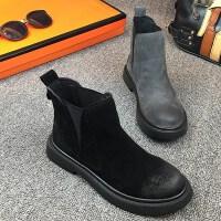 百搭短筒女鞋短靴秋冬季靴新款2018平底马丁靴女英伦风磨砂皮圆头
