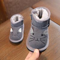 2018冬靴刺绣女宝宝棉鞋1-2岁男宝宝雪地靴加厚真皮短靴儿童棉鞋