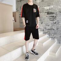 2019新款套装男休闲圆领短袖潮流运动短裤搭配t恤夏季两件套衣服TZ1962