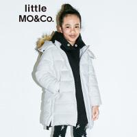 【折后价:600】littlemoco儿童羽绒服可拆卸毛边连帽白鸭绒女童中长款羽绒服