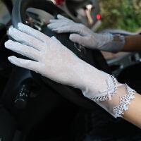 夏季冰丝女防晒手套春秋触屏薄款中长款开车防滑透气短款蕾丝手套