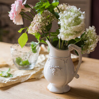 法式白瓷花壶 优雅经典复古花器花瓶陶瓷釉下彩装饰摆件