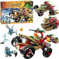 10294气功传奇赤马鳄霸王烈焰战车拼插装积木 儿童玩具