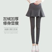 孕妇打底裤冬季时尚外穿加绒假两件裙裤加厚保暖长裤子秋冬装