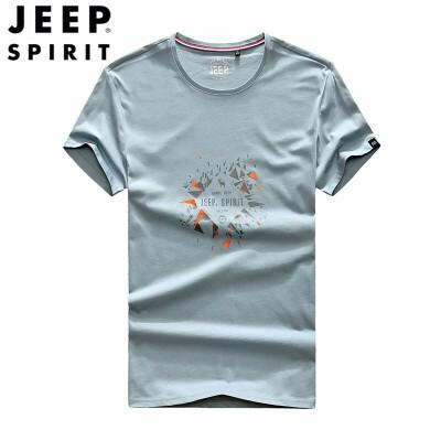 JEEP/吉普男装印花短袖T恤 春夏季新款Polo衫 圆领印花休闲修身微弹短袖t恤衫