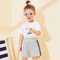 【2件3折价:32元,可叠券】迪士尼童装女童夏款新款梦幻童年女童针织休闲短裤舒适