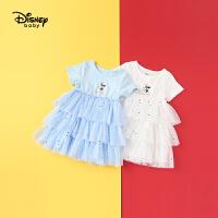【2件3折价:88.5】迪士尼宝宝快乐星球女童针织短袖蛋糕连衣裙夏季新品