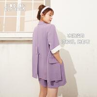【新款】妖精的口袋薄款休闲西装套装女2020夏短裤两件套韩版西服