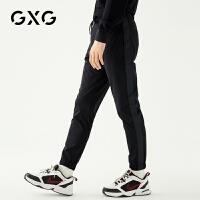 GXG男装 秋季男士刺绣字母弹性修身束腿裤黑色休闲裤男