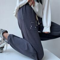 小熊运动裤女春秋薄款灰白色高腰显瘦休闲卫裤宽松抽绳束脚裤