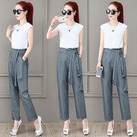 小个子时尚套装女夏季2019新款流行韩版洋气高腰裤子T恤两件套 夏天衣服女