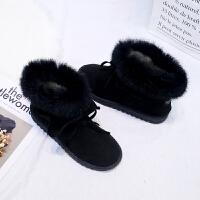 雪地靴女2018冬季新款短靴加绒加厚棉鞋韩版平底百搭毛毛短筒靴子