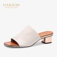 【秋冬新款 限时1折起】哈森 2019夏季新款休闲一字型粗高跟鞋HM96407