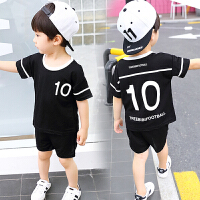 儿童夏装男童运动服中小童透气短袖短裤两件套男孩套装