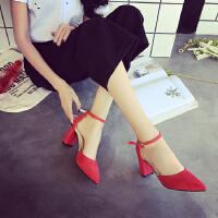 7cm高跟鞋女粗跟夏季�r尚一字扣�Ъt色婚鞋�q面女士�涡�百搭工作