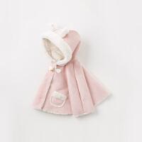 davebella戴维贝拉2019冬季女童连帽绒披风宝宝洋气斗篷DB11447