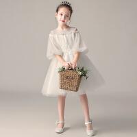 小女孩花童礼服女白色女童公主裙洋气蓬蓬纱主持人儿童演出服春季