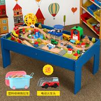 儿童托马斯小火车套装游戏桌 兼容brio木质轨道拼装玩具 机场轨道桌(送电动车) 桌子100*55*40 默认