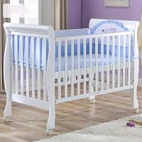 婴儿床实木欧式儿童床拼接大床多功能游戏床环保漆宝宝BB床 白色【送少儿床短护栏】