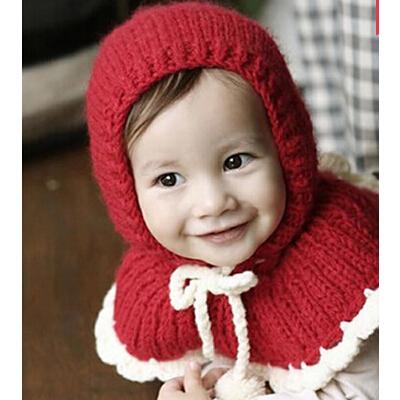 可爱宝宝韩版潮男女宝宝儿童毛线帽披肩连体护耳帽子保暖披风斗篷