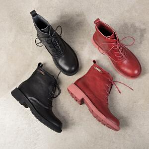 玛菲玛图chic马丁靴女冬2018新款短筒圆头中跟平底前系带英伦复古牛皮短靴57511-11