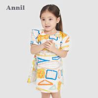 【1件5折价:99.5】安奈儿童装女童短袖连衣裙2021新款洋气印花宝宝裙子纯棉A字裙薄