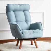 单人沙发 可调节 懒人沙发单人椅高靠背可调节旋转折叠布艺老人躺椅 椅+脚凳 单人