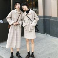 2019新款秋冬�n版格�y��松毛呢外套短裙�杉�套�W生中�L款赫本�L呢子大衣女