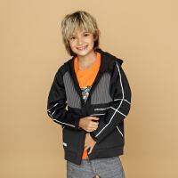 安踏童装男童连帽针织运动上衣儿童运动外套35838707